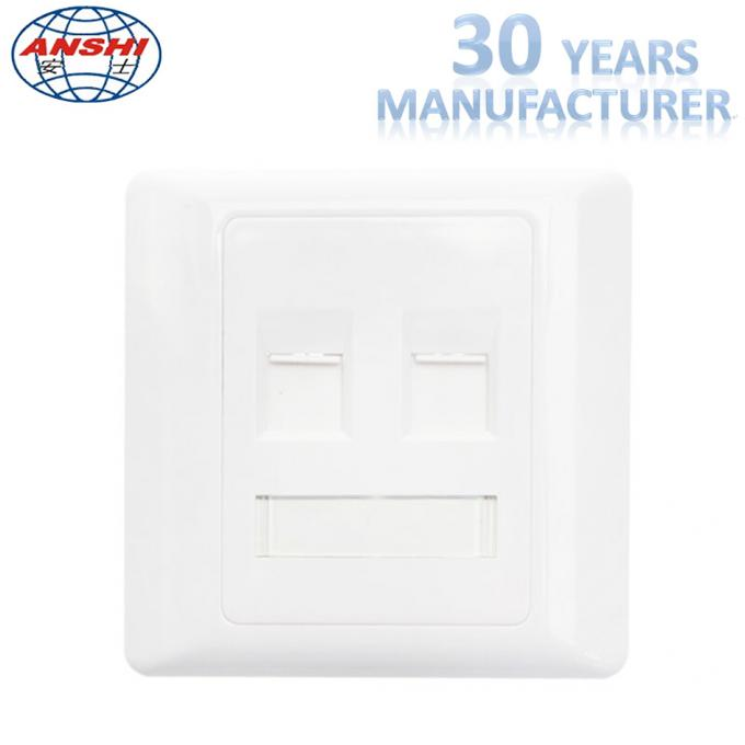 Customized Wall Mount Socket 86 Type Double Port Face Plate In White Color