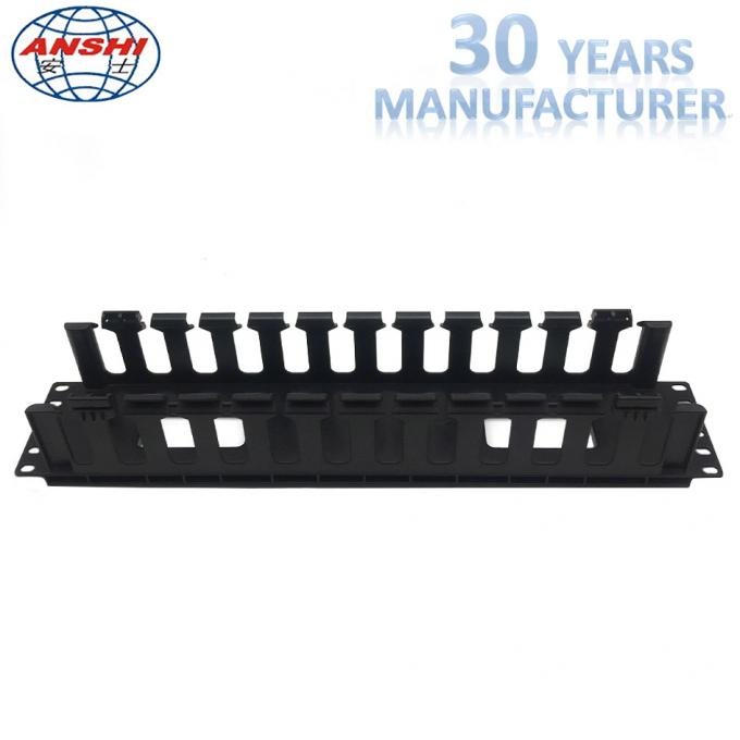 Black Networking Horizontal Cable Manager 19 Inch 2u 12 Ports Rack Mount