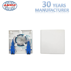 ANSHI 2 Ports Fiber Face Plate RJ45 And SC FTTH Termination Box ABS Material