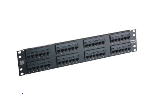 48 Port Rack Mount Patch Panel 2U 19'' UTP Patch Panel Cat5e 110 IDC RoHS Compliant