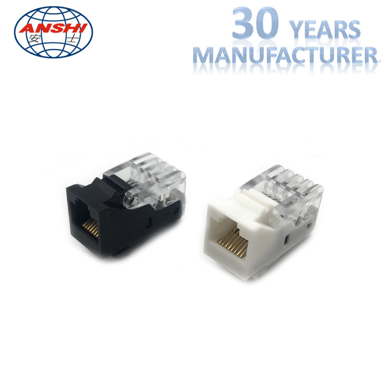 Ivory Cat5e RJ45 Punch Down Jack / ABS Toolless Keystone Jack Gold Plating