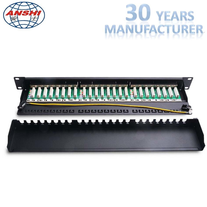 19 Inch 24 Port CAT6 STP Shielded Patch Panel 1U, IDC PCB Type