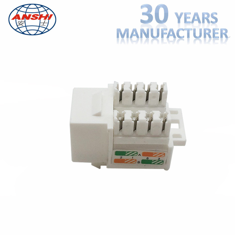 White Cat6 Rj45 Keystone Jack Keystone Punch Down Stand For Wiring System