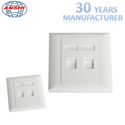 China Customized Wall Mount Socket 86 Type Double Port Face Plate In White Color factory