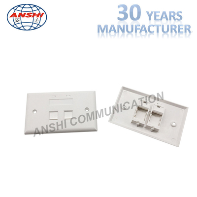 China 115*70 Wall Mount Network Cable Faceplate RJ45 RJ11 Single Port Horizontal Type factory